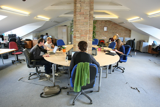 remote work in a co-working space